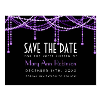 Art Deco Sweet 16 Save The Date String Light Purpl Postcard