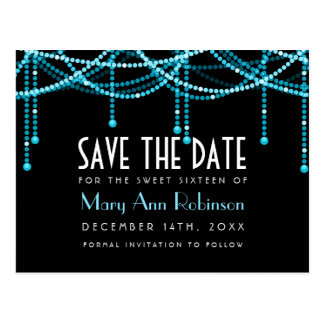 Art Deco Sweet 16 Save The Date String Light Turqu Postcard