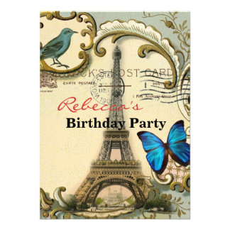 Art Deco swirls butterfly Eiffel Tower Paris Custom Invitation