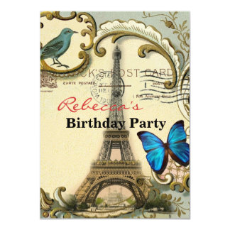 Art Deco swirls butterfly Eiffel Tower Paris Custom Invitation