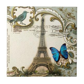 Art Deco swirls butterfly Eiffel Tower Paris Small Square Tile