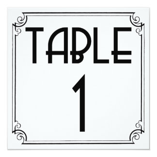 Art Deco Table Number 1 13 Cm X 13 Cm Square Invitation Card