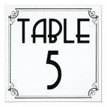 Art Deco Table Number 5 Custom Announcements