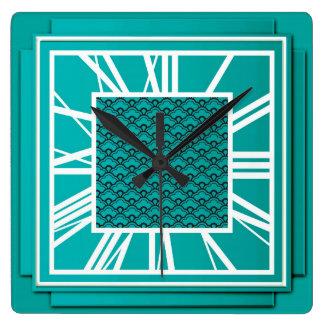 Art Deco, teal blue Wall Clocks