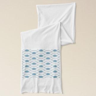 Art deco,teal,white,vintage,shell pattern,1920 era scarf