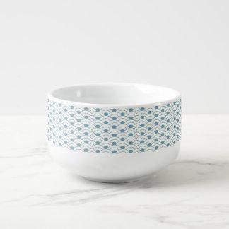 Art deco,teal,white,vintage,shell pattern,1920 era soup mug