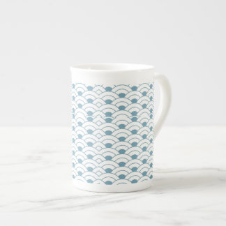 Art deco,teal,white,vintage,shell pattern,1920 era tea cup