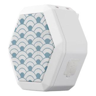 Art deco,teal,white,vintage,shell pattern,1920 era white bluetooth speaker