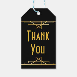 Art Deco Thank You Black & Gold Great Gatsby Party Gift Tags