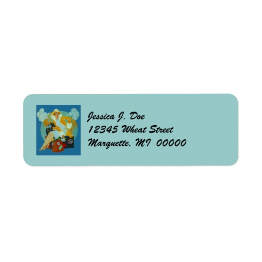 Art Deco Travelling Lady W/ Luggage Address Labels