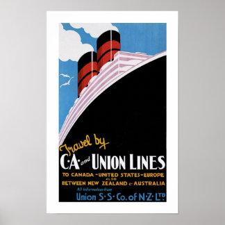 Art Deco Union Lines Poster