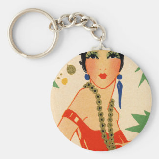 Art Deco Vamp, 1920s Flapper Basic Round Button Key Ring