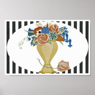 Art Deco Vase of Flowers Poster