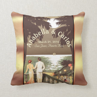 Art Deco Vintage Beach | champagne Throw Pillow