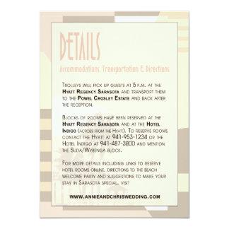 Art Deco Vintage Beach Details Info | blush Custom Invitation