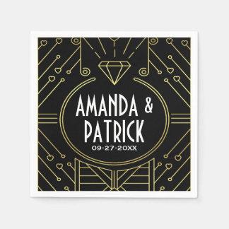 Art Deco Vintage Black and Gold Wedding Napkins Disposable Serviettes
