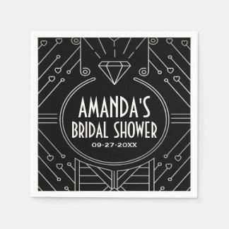 Art Deco Vintage Black Bridal Shower Napkins Paper Napkins
