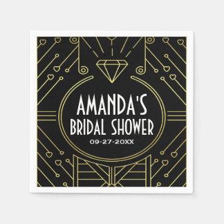 Art Deco Vintage Black Gold Bridal Shower Napkins Disposable Serviette