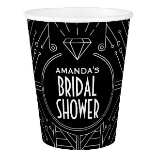 Art Deco Vintage Black Silver Bridal Shower Cups