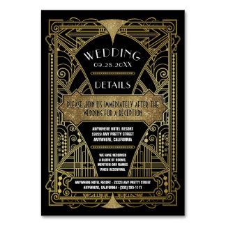Art Deco Vintage Black Wedding Inserts Cards Table Card