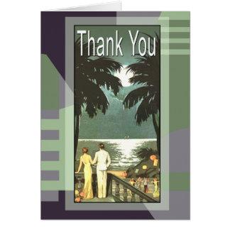 Art Deco Vintage Miami Beach Thank You Greeting Cards