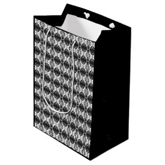 Art Deco wallpaper pattern - black and white Medium Gift Bag