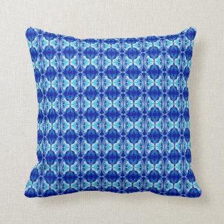Art Deco wallpaper pattern - cobalt blue and white Cushion