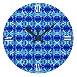 Art Deco wallpaper pattern - cobalt blue and white Wallclocks