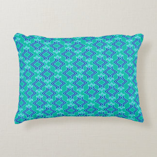 Art Deco Wallpaper Pattern, Turquoise and Cobalt Accent Pillow