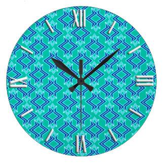 Art Deco Wallpaper Pattern, Turquoise and Cobalt Clocks