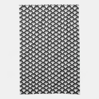 Art Deco wave pattern - black and white Tea Towel