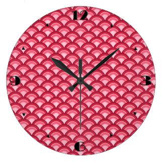 Art Deco wave pattern - red and fuchsia Clocks