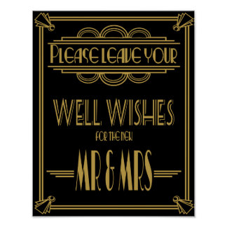 Art Deco Wedding sign Gold and black wishes sign Poster