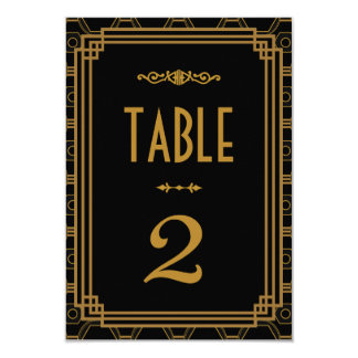 Art Deco Wedding Table Numbers Personalized Invitations