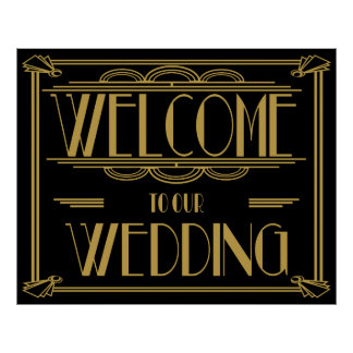 Art Deco welcome to our wedding sign Poster