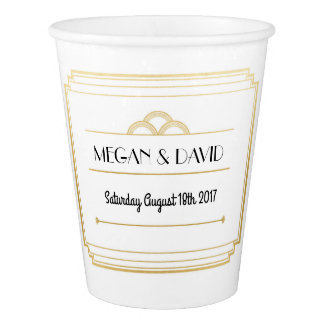 Art Deco White & Gold Paper Cups Wedding