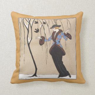 Art Deco Winter Scene Throw Pillow