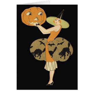 Art Deco Witch Jack O Lantern Pumpkin Black Cat Greeting Card