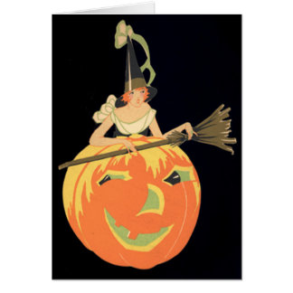 Art Deco Witch Jack O Lantern Pumpkin Broom Greeting Card