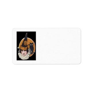 Art Deco Witch Jack O Lantern Pumpkin Owl Address Label