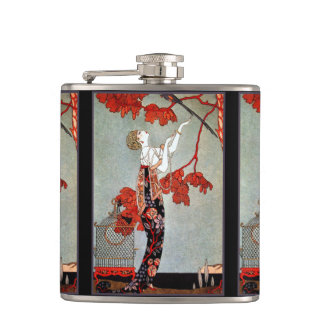 Art Deco Woman and the Parrot Hip Flask