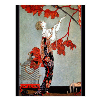 Art Deco Woman and the Parrot Postcard