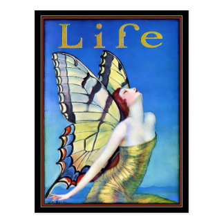 Art Deco Woman Butterfly Postcard