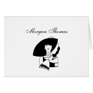 Art Deco Woman In Big Hat Gloves RL Card