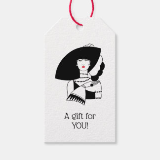 Art Deco Woman In Big Hat Gloves RL Gift Tags