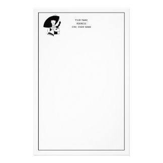 Art Deco Woman In Big Hat Gloves RL Stationery