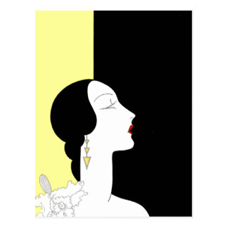 Art Deco Woman in Profile Postcard