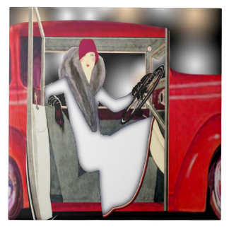 Art Deco Woman in Red Sports Car Tile