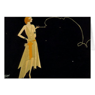 Art Deco Woman Smoking Cigarette Card