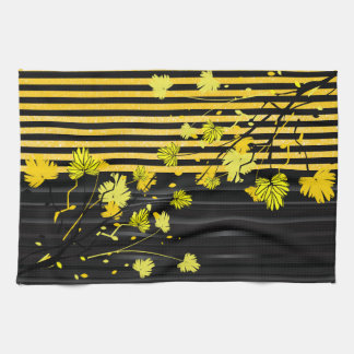 Art Deco Yellow and Black Floral Tea Towel